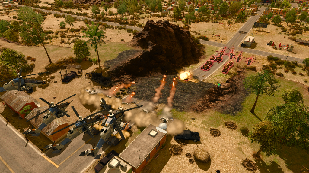 Screenshot of a fight on Faraway, a 2vs2 map that I designed during my internship at Eugen Systems.